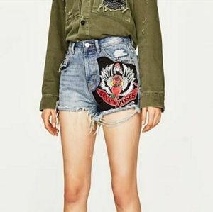 ZARA  Guns N Roses High Waist Denim Shorts